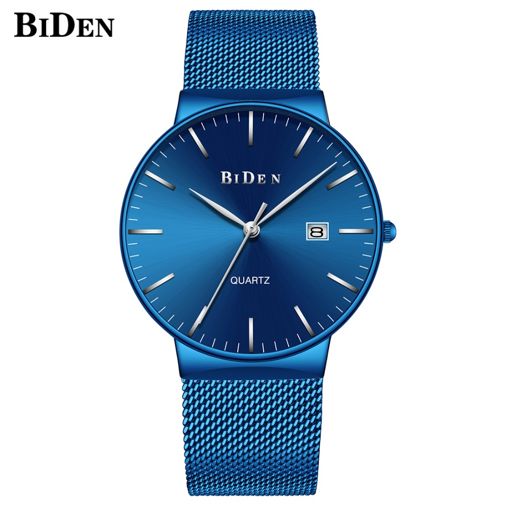 Luxury Royal Blue Steel Watch Men Top Brand BIDEN Sport Date Fashion Male Clock Waterproof Quartz Wristwatches Mesh Band relogio biden men s watches new luxury brand watch men fashion sports quartz watch stainless steel mesh strap ultra thin dial date clock