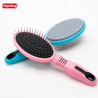 Hipidog Double Sides Dog Hair Brush Pet Dog Comb Brush Plastic Handle Bath Brush Pet Grooming