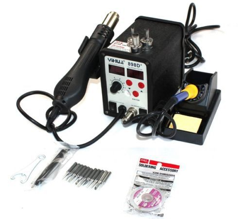 YIHUA 898D+ 2in1 SMD Rework Soldering Station Solder Iron with Heat Hot air Gun ESD Tips BGA Hot Air Nozzles велосипед forward cyclone 1 0 2014