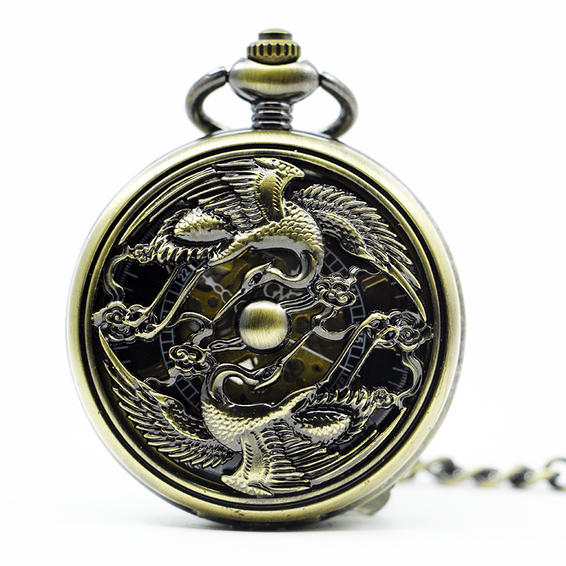 Vintage Mechanical Pocket Watch Hollow Double Crane Design Black Dial Pendant Clock Hand-winding Watch For Men Women PJX1281
