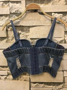 Image 5 - New Cowboy Hole Push Up Denim Bustier Crop Top Womens Ripped Sexy Cropped Feminino Strappy Bralette Bras Camis Tops Cropped