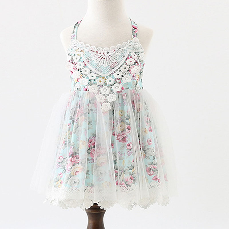 2017 bebé Niñas boutique Niñas floral Encaje verano sin mangas bola Vestidos, Princesa de hadas tulle party Dance dress