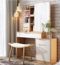 Nordic solid wood dresser multifunctional storage makeup table small family modern log corner cabinet table.