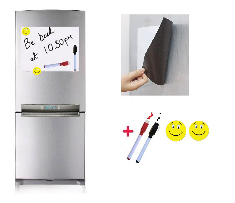 A4 Size Magnetic White Board For Fridge Marker 2 Magnets Home Kitchen Message Notepad Sticker Flexible