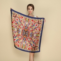 Crepe Satin Silk Square Scarves Breathable Women Exquisite Seam Printed Silk Scarf Summer Sunscreen Cool Comfortable