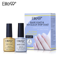 Elite99 Long Lasting No Clean Top Coat Base Coat UV Gel Nail Polish Shiny Sealer Manicure Set Soak off Top Base Nail Primer 10ml