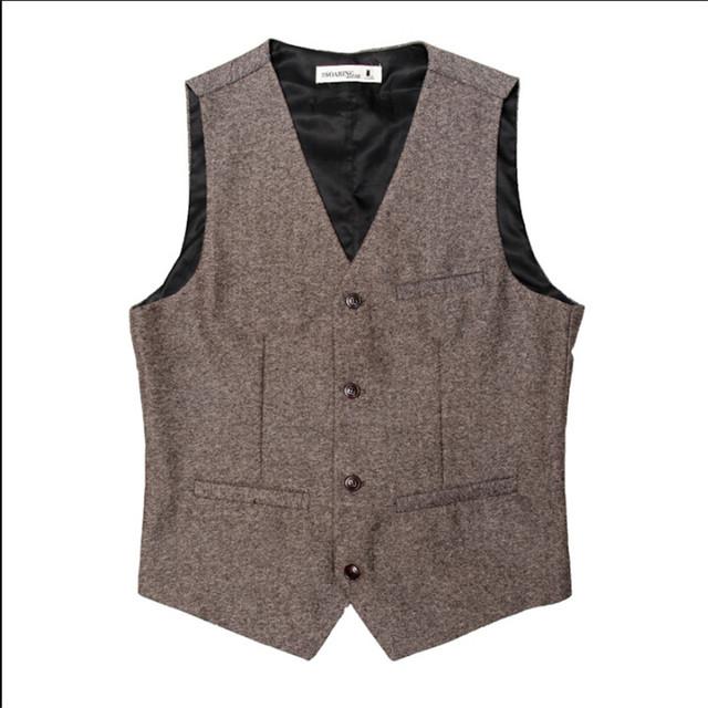 Vintage estilo inglaterra homens colete terno único breasted cor sólida dos homens roupas de marca blazer terno casacos colete a2916