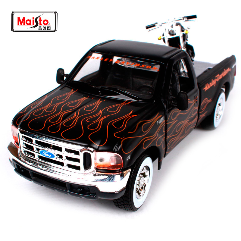 Maisto 1:27 1999 FORD F-350 SUPER DUTY Pickup 2002 Harley FXSTB NIGHT TRAIN Motorcycle Bike Diecast Model Car Toy New In Box maisto 1 18 honda africa twin dct crf1000l motorcycle bike diecast model toy new in box