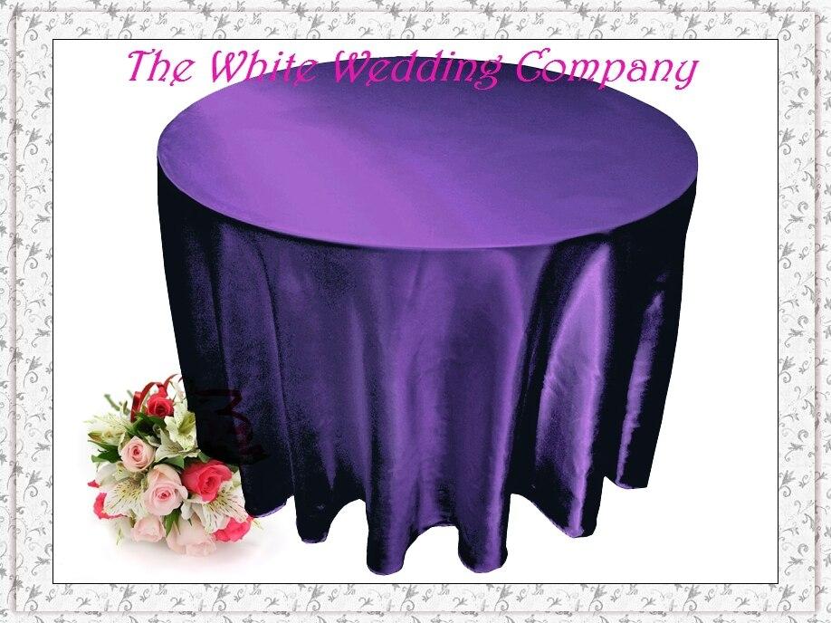 10pcs Purple 90u0027u0027Satin Round Tablecloths For Dinning Wedding Banquet  Decoration Free Shipping(