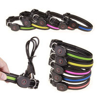USB Rechargeable LED Pets Dog Collar Glowing Flashing Night Safety Necklace Dog Cat Collars With USB