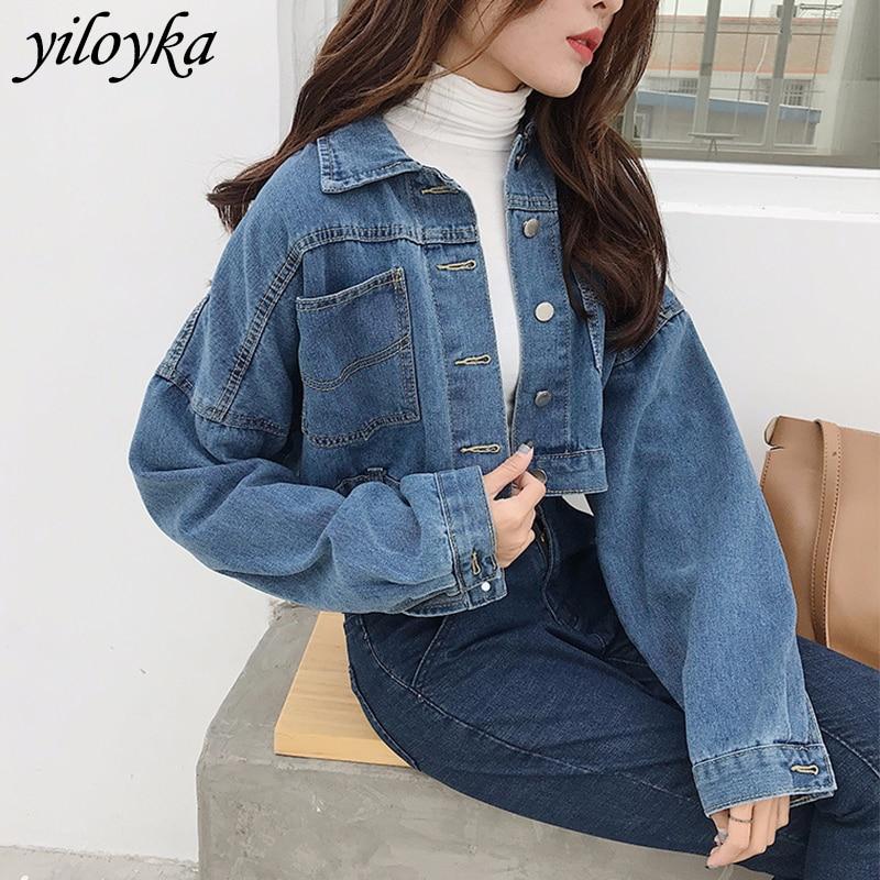 New High Quality Women Denim   Jacket   2019 Autumn   Basic     Jackets   Fashion Long Sleeve Jeans Coat Casual Denim Outwear Tops Plus Size