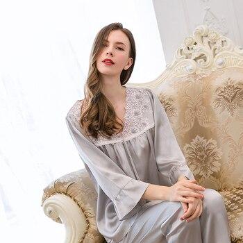 Natural Silk Pajamas Set For Women Lace-Neck Solid Long Sleeve 100% Silk Night Wear Summer Ladies Real Silk Sleepwear Grey