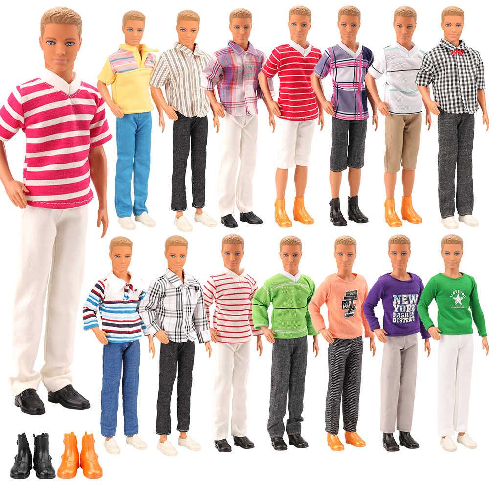 ขายร้อน 5 ชิ้น/Lot = 3 Kenเสื้อผ้าตุ๊กตา + ตุ๊กตา 2 ชุดรองเท้าสุ่มชุดอุปกรณ์เสริมสำหรับตุ๊กตาบาร์บี้Kenของขวัญคริสต์มาสที่ดีที่สุด