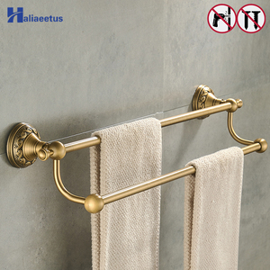 Nail free Towel Holder 2 Layer Antique Brass Bathroom Towel bars Towel Bathroom Accessories(China)