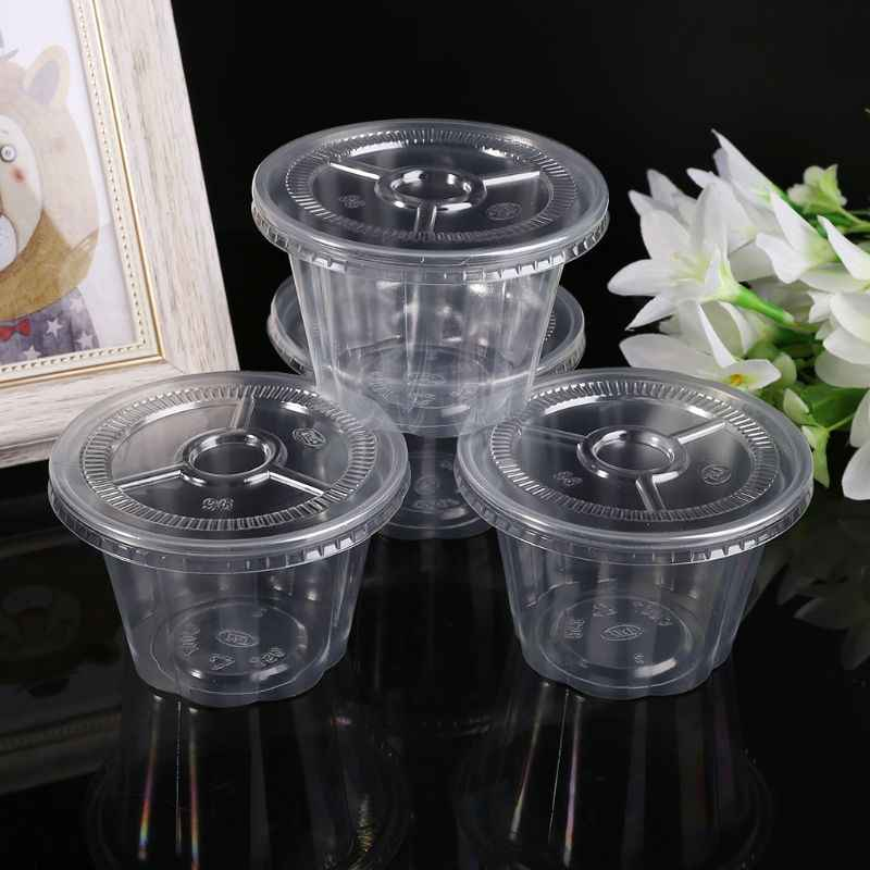 50Pcs/Set Disposable Cups Set Of 250ml Sauce Rippled Pot Container Jello Shot Cup Slime Storage with Lid for Ketchup