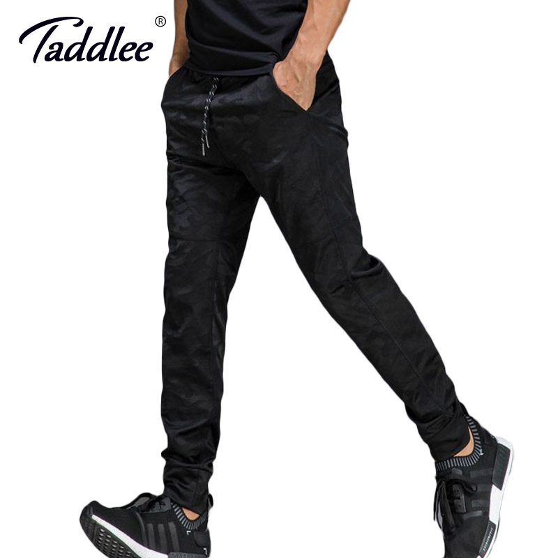 Taddlee Brand Jogger Sports Running Pants Mens Slim Fit Basic Flat-Front Black Ankle Tro ...