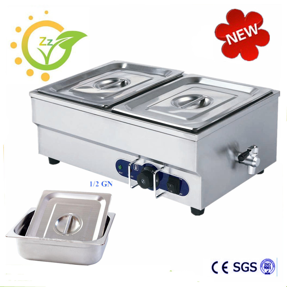 2 Pan Countertop Food Warmer Stainless Steel Bain Marie Wet Heat Soup Electric Catering Equipment Restaurant Use