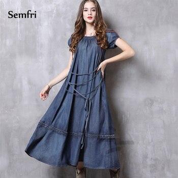 8fc46ed7684aab8 Semfri Синее джинсовое платье Для женщин летние платье элегантное, миди  пикантные джинсовое платье с поясом проектирование установка Vestidos 2019 .
