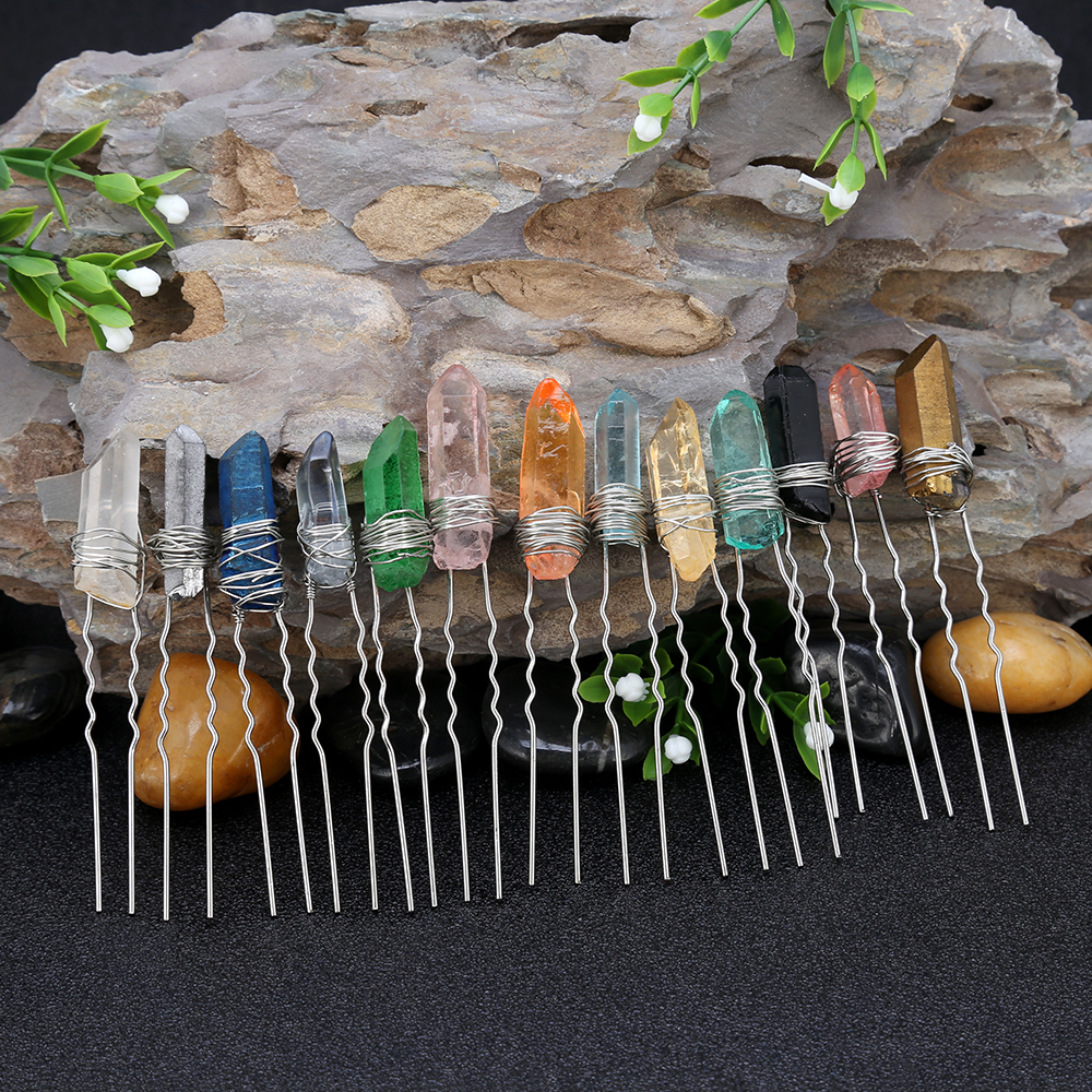 Raw Stone Crystal Quartz Hair Pin Bridal Hair Pin/ Wedding Hair Accessory Qquartz Bobby Pin Boho Unique hair piece Gift