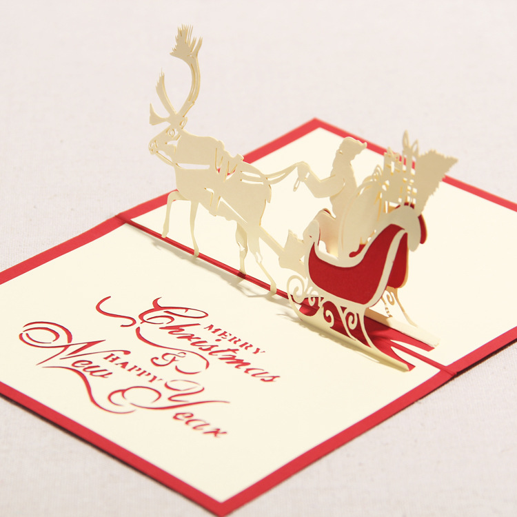 3D Greeting Card Handmade Paper Crafts Merry