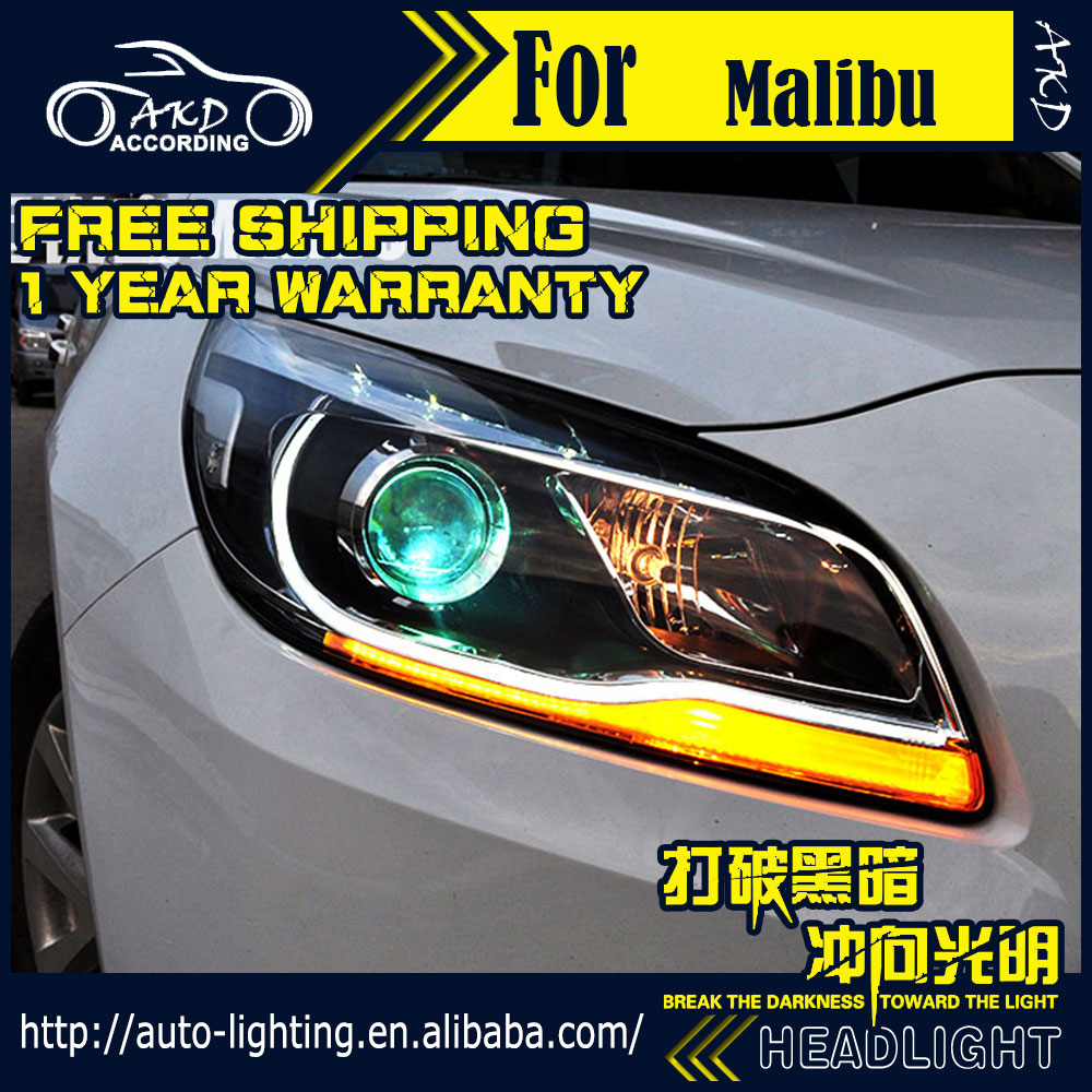 Akd car styling head lamp for chevrolet malibu headlights malibu led headlight drl h7 d2h hid option angel eye bi xenon beam