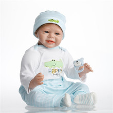 SanyDoll hot sale silicone reborn baby 22inch 55cm Crocodile pattern beautiful clothing smiling face baby