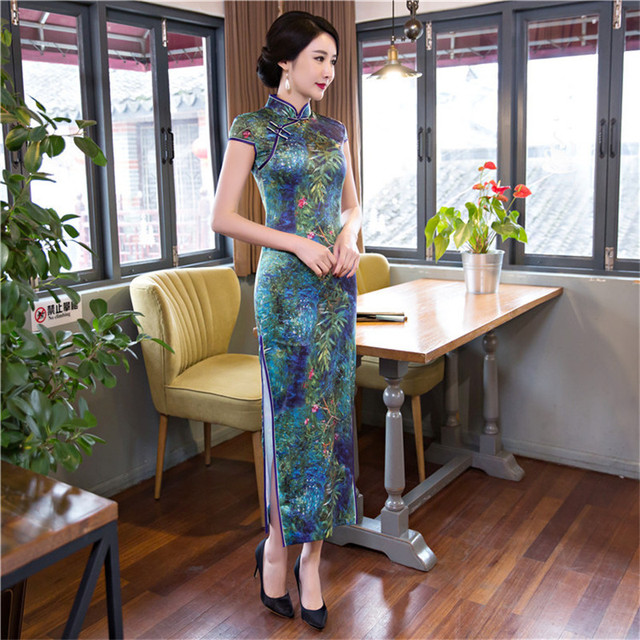 2787ab79f New Women Novelty Print Traditional Chinese Dress New Arrival Satin Sexy  Long Qipao Female Vintage Flower Tight Cheongsam