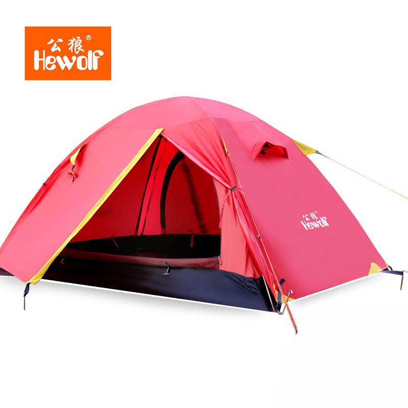 Hewolf Four Seasons Aluminum pole upgrade professional outdoor tent Double bunk camping tent high quality outdoor 2 person camping tent double layer aluminum rod ultralight tent with snow skirt oneroad windsnow 2 plus