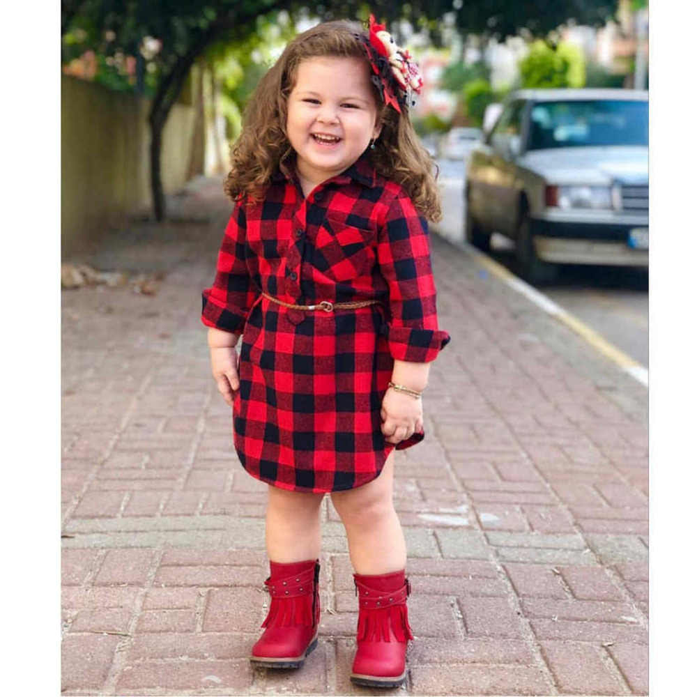 12M-4T Christmas Toddler Newborn Kids Baby Girls Dress Red Plaid Cotton Princess Party Long Sleeve Dress Clothes Girl Real Photo