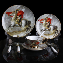 Bone China Dinnerware Sets Royal Napoleon Ridding Horse Pattern Dinner Plate Sets Oil Painting Dishes Set European Dishware