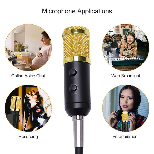 Professional condenser audio usb wired bm900 studio microphone with stand for vocal recording ktv karaoke