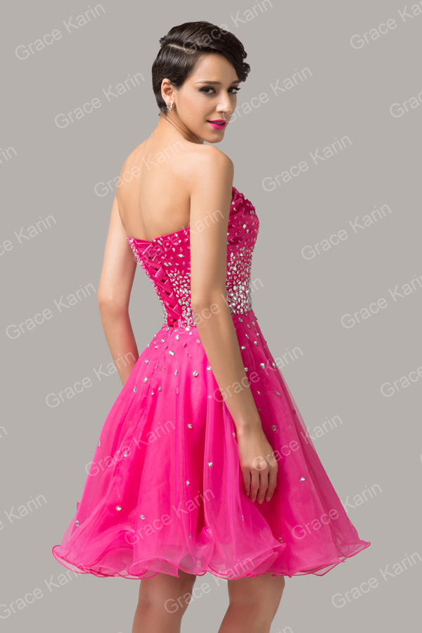9b5b53b9c4d Luxury Cocktail dresses 2017 Grace Karin Organza pink Robe de ...