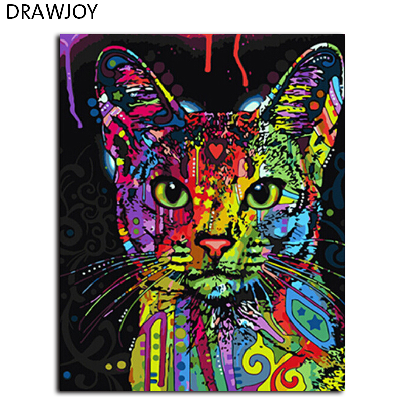 """DRAWJOY numbrite järgi maalimine abstraktsioon """"Kass"""" . 40x50cm. Raami võimalus."""