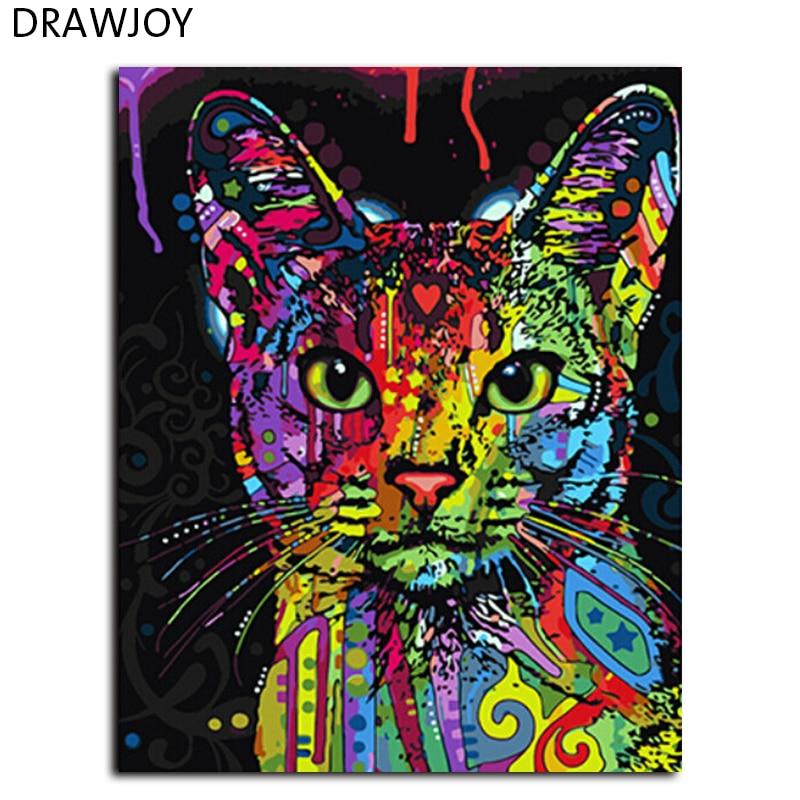 Drawjoy enmarcó la pintura del cuadro por números arte de la pared pintura al óleo de DIY por números en la lona Decoración para el hogar para sala 40*50 cm