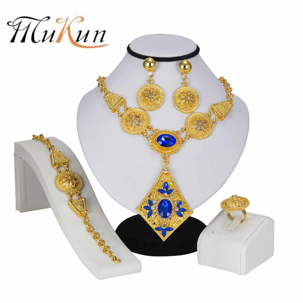 MUKUN Jewerly Sets For Women Nigerian Wedding African Beads Jewelry Set Gold Cold Trendy Ethiopian Bridal Jewelry Sets for gifts