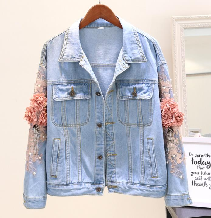 Women Autumn Embroidery Pearl Beading 3D Flower Denim Jackets Female Single Breasted Casual Jeans Tops Jacket