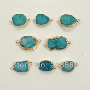 H-DPB14 10pcs Blue Drusy Crystal Connector Druzy Pendant Gold Electroplated 30mm-40mm