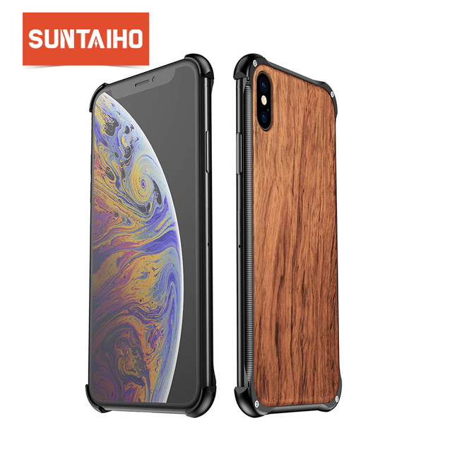 Suntaiho, carcasa de marco de Metal de madera de lujo para iphone XS Max, carcasa para teléfono iphone 7 Plus, funda XR X 7 8, funda para el iphone 8 Plus