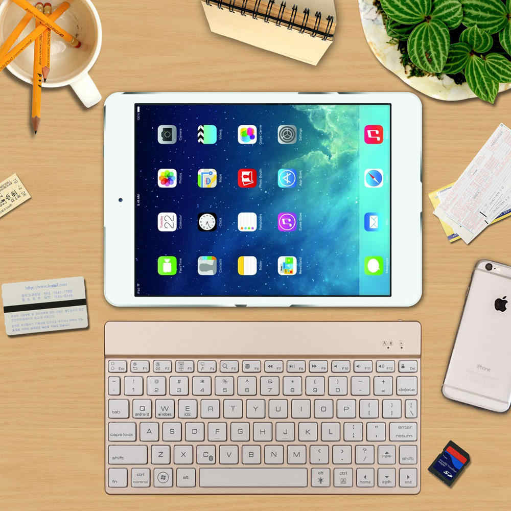 Untuk iPad Pro 10.5 Premium Portabel Slim Isi Ulang 7 Warna LED Backlit Backlight Aluminium Wireless Bluetooth Keyboard Case