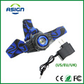 LED Headlamp Cree Q5 Waterproof High Brightness Built-in Lithium Battery Rechargeable Headlight + Charger 3 Modes Zoomable Torch