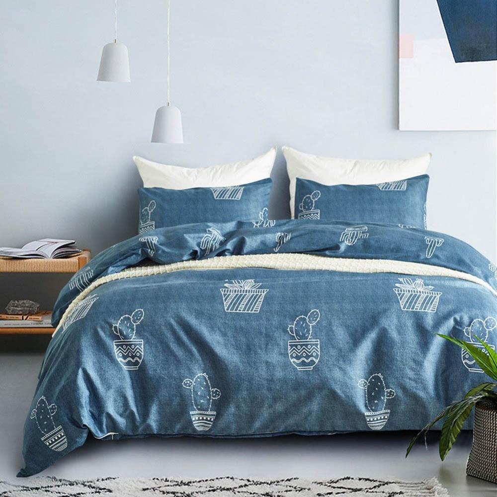 Brief Style Bedding Set Cartoon Cactus Pot King Size Bedclothes Pillowcase Duvet Cover Sets Bedroom Bed Decoration Home Textiles