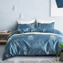 Brief Style Bedding Set Cartoon Cactus Pot King Size Bedclothes Pillowcase Duvet Cover Sets Bedroom Bed Decoration Home Textiles
