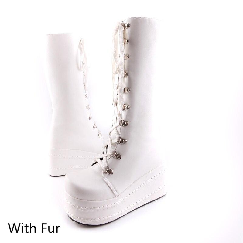 KarinLuna/Большие размеры 31-49; модные ботинки для костюмированной вечеринки в стиле панк; женская обувь; зимняя обувь на танкетке; женские сапоги до колена на высоком каблуке - Цвет: white with fur