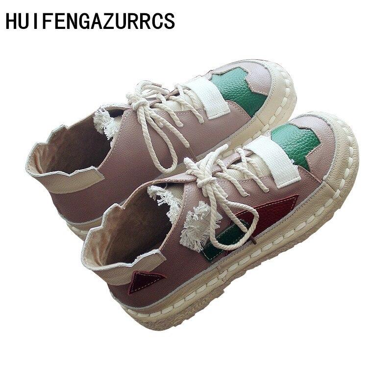 HUIFENGAZURRCS Echt leer vrouwen Originele handwerk laarzen met bijpassende kleuren en veters, zachte zolen pezen enkellaarsjes-in Enkellaars van Schoenen op  Groep 1