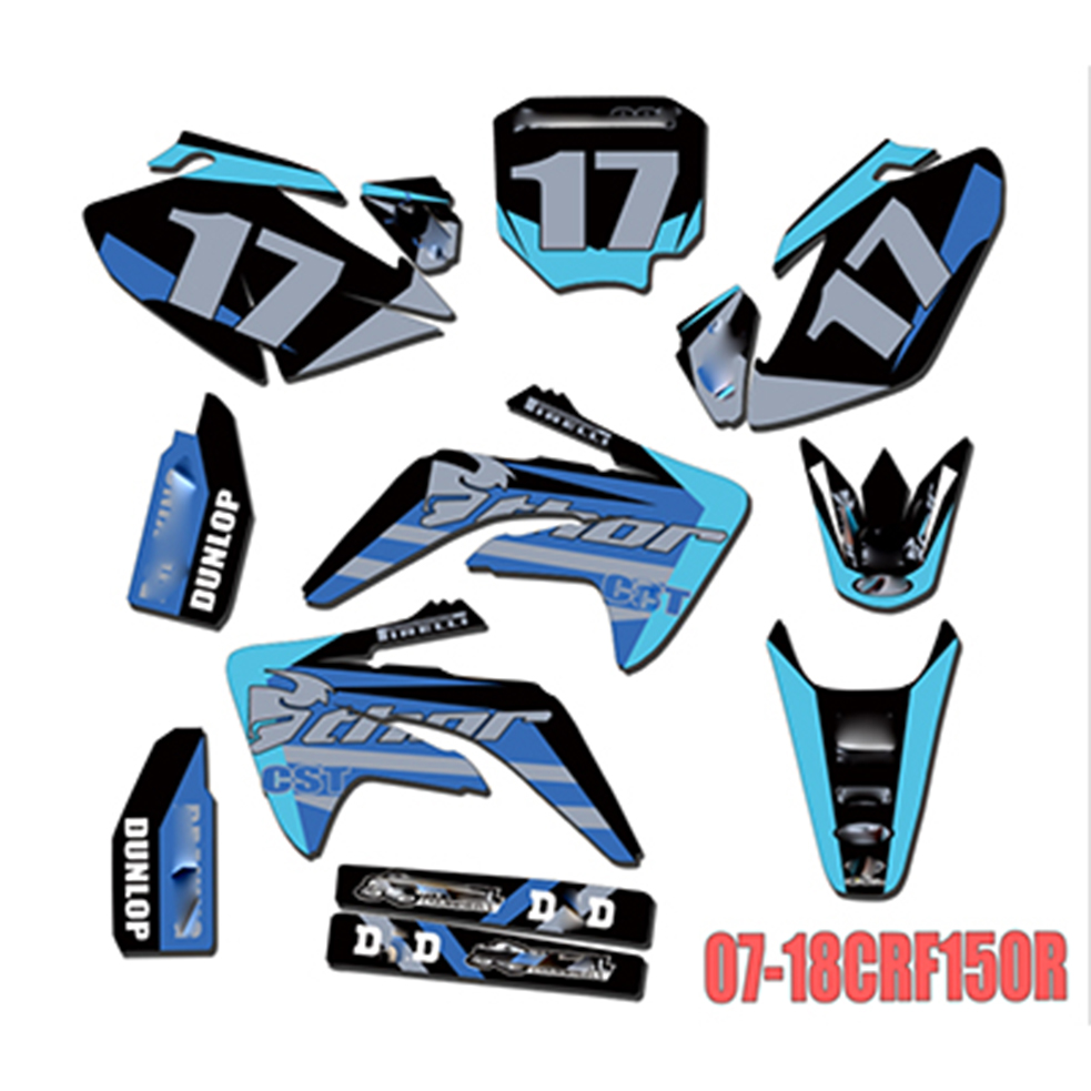 Full Stickers DIY Customizable number decals For Honda CRF150R CRF 150 R 2007 2018 2008 2009