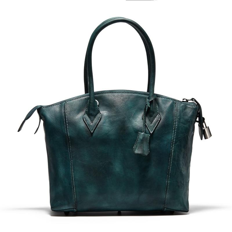 Vintage Designer First Layer Genuine Leather Lock Closure Women Green Handbag Cow Skin Female Top handle