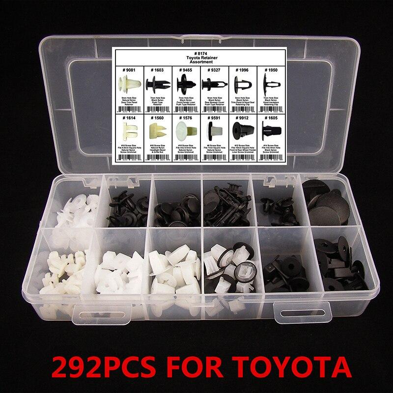 Automašīnas salona spiediens Automobiļa spiediena stiprinājuma tapa kniedes apdares stiprinājumu klipša veidņu sortiments 292PC 12 dažādu izmēru Toyota Mazda