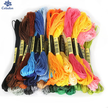 Разные цвета, 8 шт./лот, Длина 7,5 м, аналогичные DMC нити для вышивки крестиком, хлопковые нитки для вышивки, для рукоделия, швейные инструменты, аксессуары