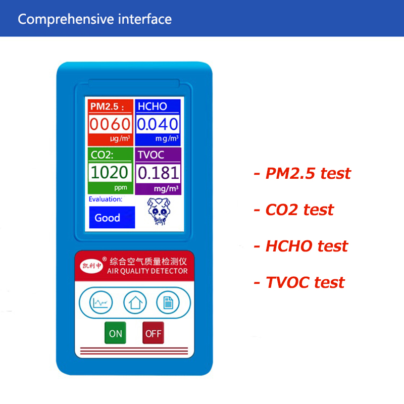 Gas Analyzer Formaldehyde CO2 Carbon Dioxide PM1.0 PM2.5 PM10 HCHO TVOC Gas Detector Particles Monitor Air Quality Analyzer