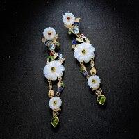 Роскошные Этнические модные украшения Шарм эмаль цветок висячие серьги для женщин Свадебные Кристалл Длинные серьги на заказ аксессуары